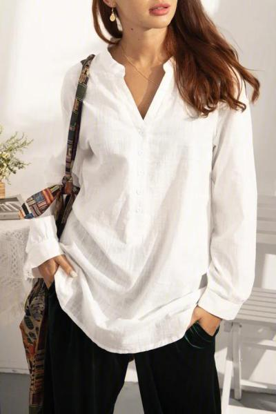 Solid Long Sleeve V Neck Blouse