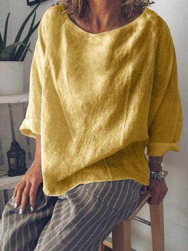 Cotton-Blend Solid Long Sleeve Blouse