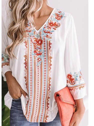Women Casual V Neck Tops Tunic Blouse Shirt
