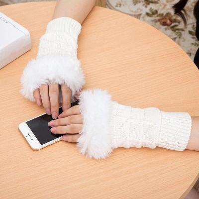 Sparkling Knitted Black Wool Half Finger Mitts Warmr