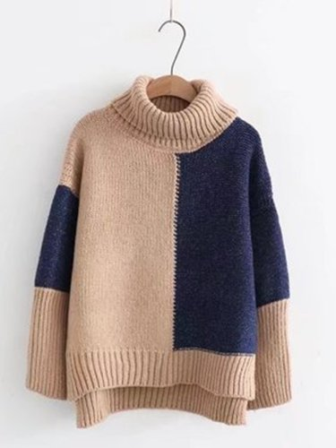 Turtle Neck Knitted Casual Sweater