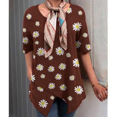 Cotton Linen Irregular Women Blouses Plus Size Flower Print Daisy Female Tunic Casual O Neck Half Sleeve 2020 Shirt
