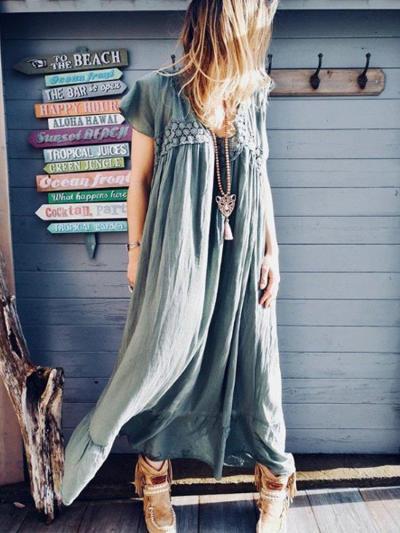 Patchwork V Neck Short Sleeve Dresses