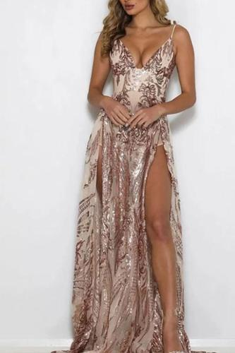 Sexy Deep V Sling Sequins Evening Dress