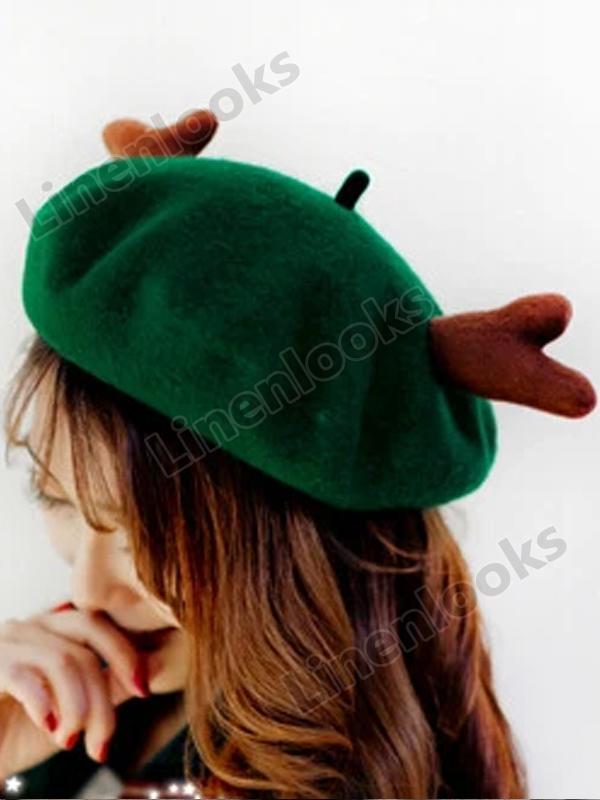 Vintage Antlers Christmas Beret Handmade