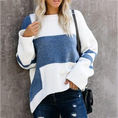 Stitching Knitted Pullover Autumn and Winter Women's Clothing Sweater Knit  Women Pullover