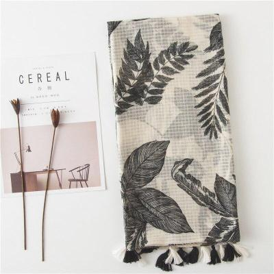 Lady Cotton and Linen Scarf Winter Popular Silk Scarves Ethnic Style Print Beach Towel