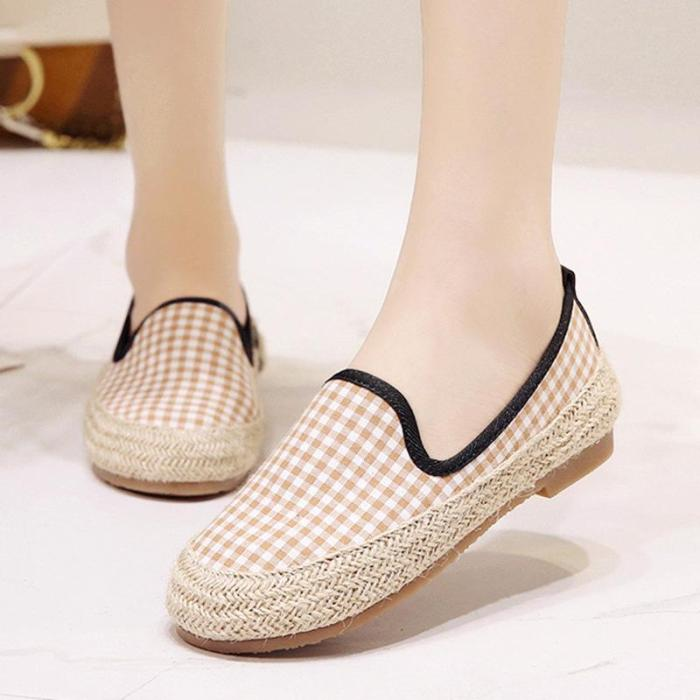 Women Canvas Loafers Casual Slip On Flat Plaid Shoes
