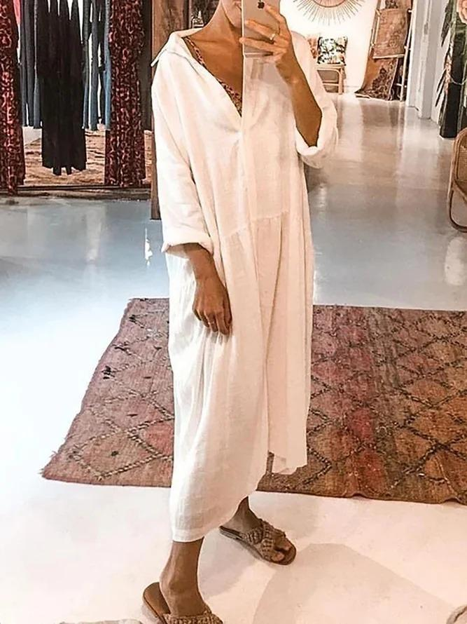 Linen Long Sleeve Plain Casual Dresses