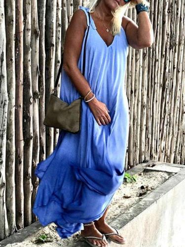 Blue Casual Patchwork Swing Sleeveless Dresses