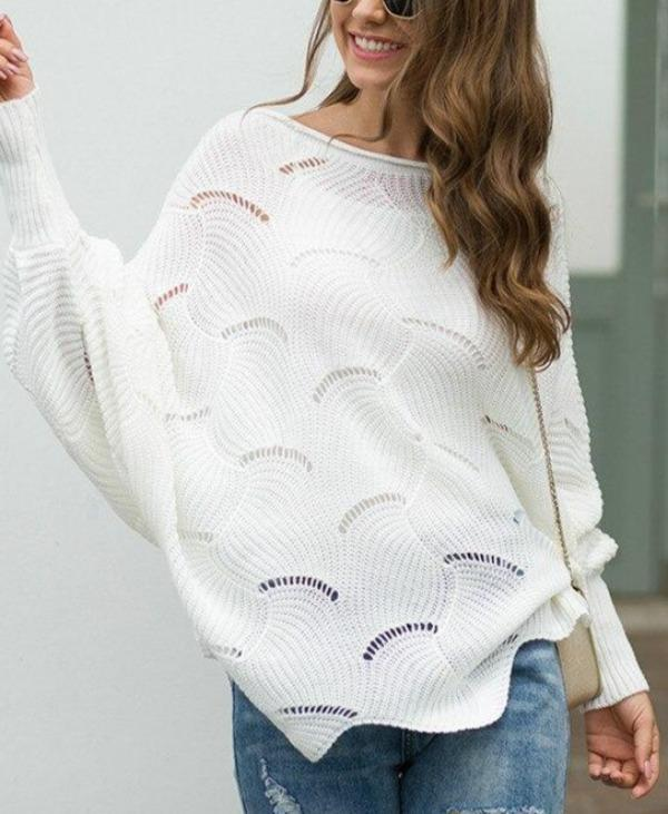 2020 Autumn and Winter Sweater Women's Hollow Stitched Pattern Loose Sweater