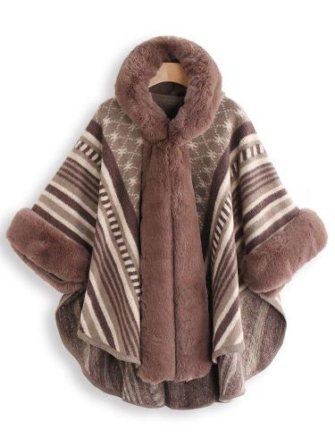 Elegant Faux Fur Oversized Stripe Poncho Coat