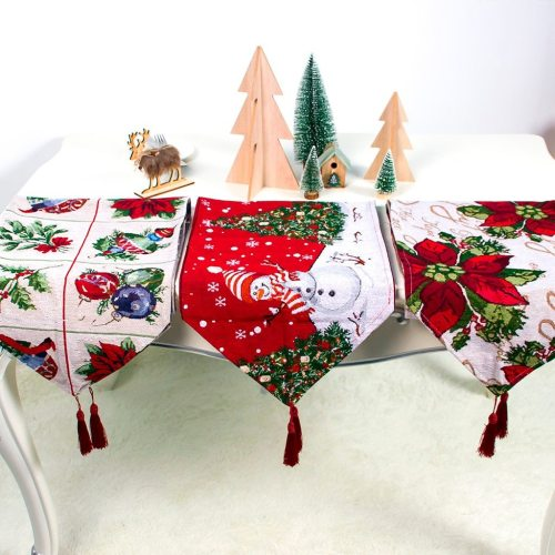 Creative Christmas Cotton Linen Tablecloth Table Flag Desktop Decoration