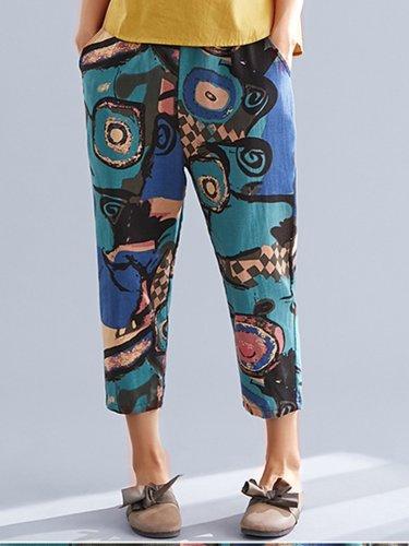Plus Size Women Multicolor Casual Pants