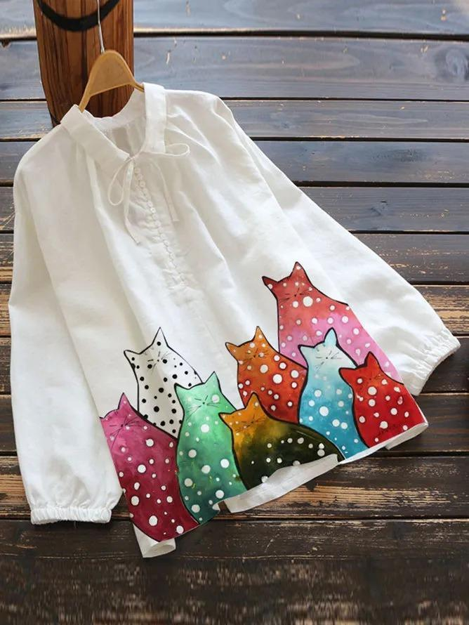 White Pastoral Cotton-Blend Shirts & Tops