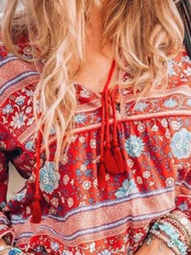 Vintage Long Sleeve Boho Floral Printed V Neck Plus Size Casual Tops