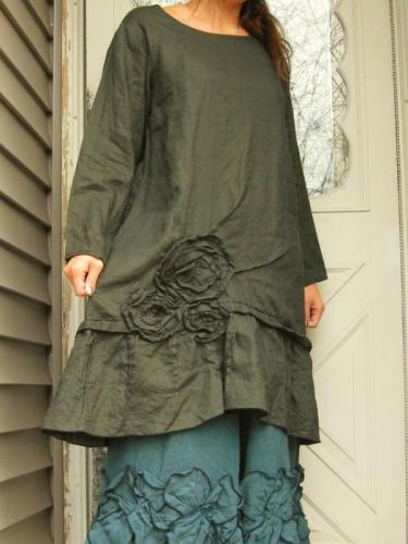 Vintage Solid Long Sleeve Crew Neck Dresses