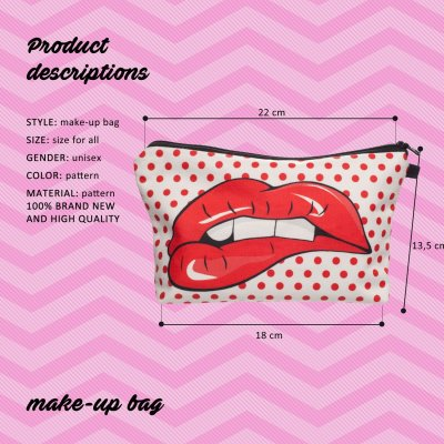 Fashion Lipstick LOVE Flower 3D Printed Cosmetic Bags Multifunction for Travel
