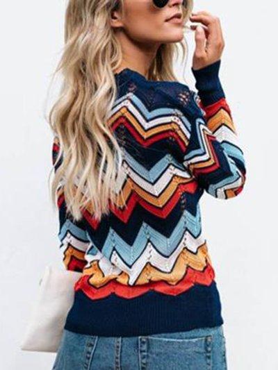 Casual Striped Crew Neck Sweater