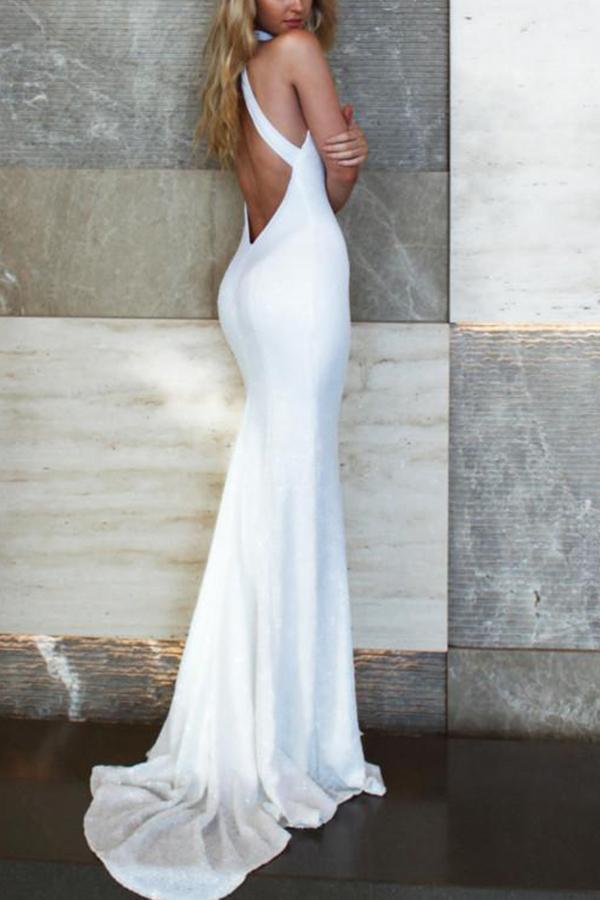 Fashion Bare Back   Sleeveless Evening Dress