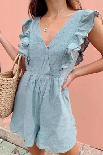 Stylish V-Neck Flounce Jumpsuit