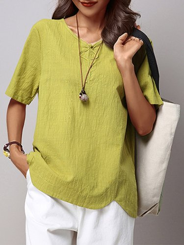 Plus Size Women Short Sleeve V-Neck Solid Casual Tops