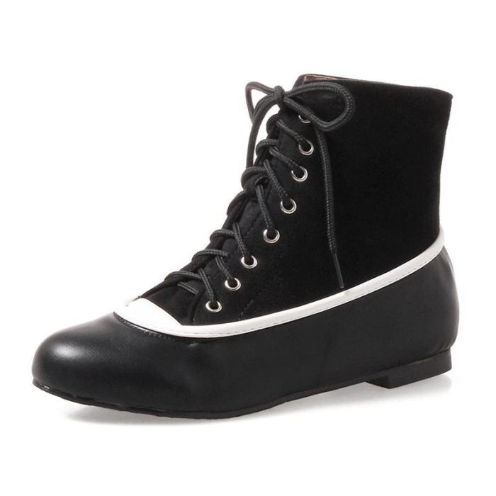 Chunky Heel Winter Lace-up Plus Size Boots Artificial Leather Ankle Booties