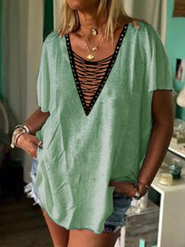 Women's Casual  Short Sleeve V neck  Lace-Up Tops