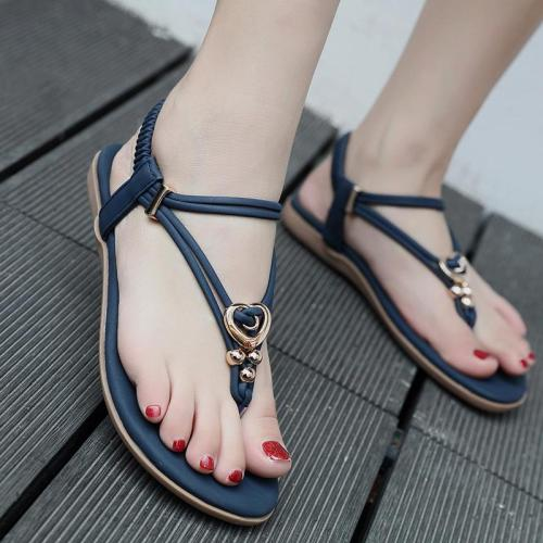 Women Gladiator Flats Sandals Shoes Crystal Bead Metal Flip Flop Beach Sandals