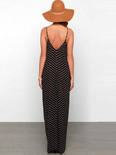 Chiffon Spaghetti Strap Backless Polka Dot Maxi Dresses