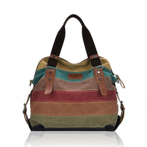 Retro Ethnic Style Stripe Canvas Contrast Color Multi-pocket Handbag Crossbody Bag