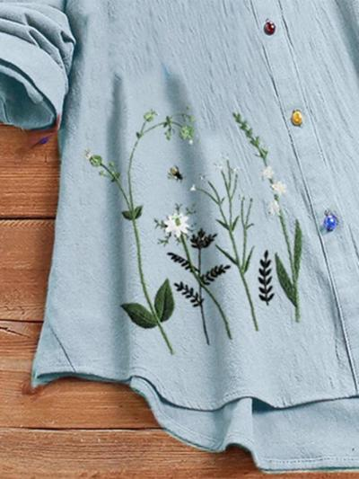 Vintage Floral Embroidery Button 3/4 Sleeve Shirt
