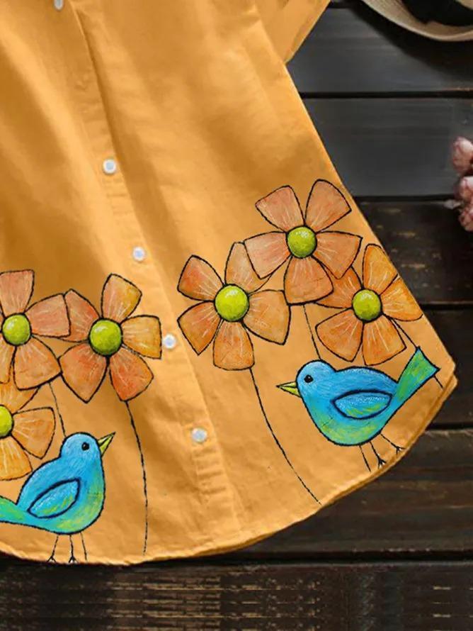 Yellow Short Sleeve Floral Shirts & Tops