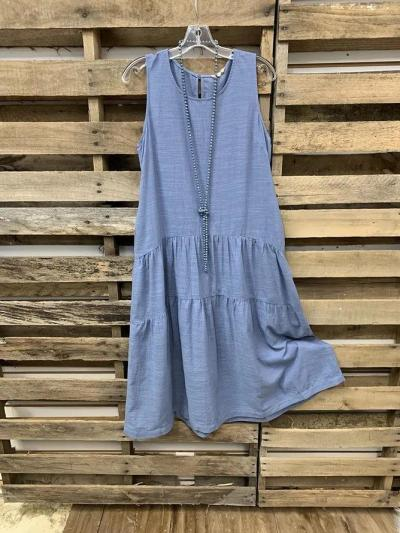 Blue Crew Neck Sleeveless Dresses