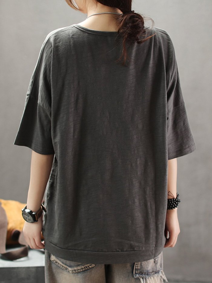 Printed Short Sleeve Round Neck Shirts & Tops
