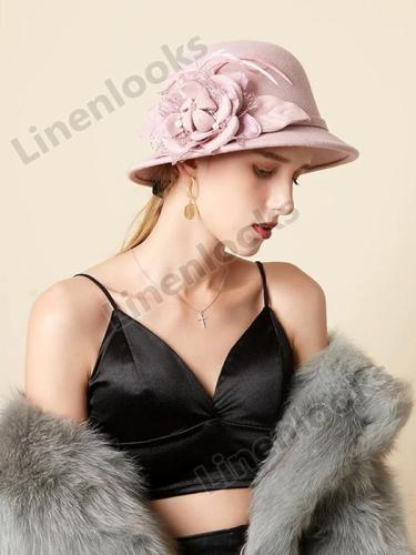 Fisherman Hat Female Retro Feather Flowers Woolen Elegant Felt Hat
