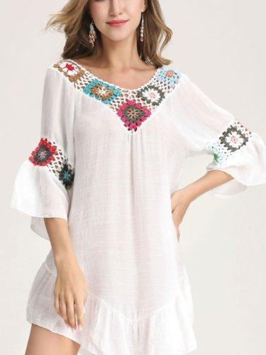 White Long Sleeve V Neck Cotton Dresses