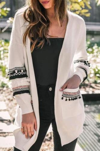 Fashion Splicing Long-Sleeved Women's Long Cardigan Sweater