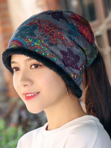Womens Ethnic Cotton Beanie Hat Vintage Good Elastic Warm Turban Scarf Caps