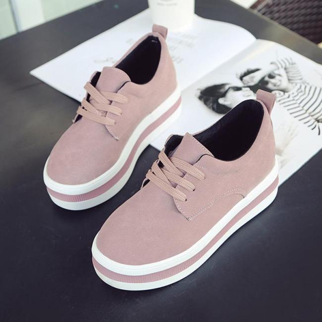 Women Casual Solid Color Thick Med Heel Sneakers