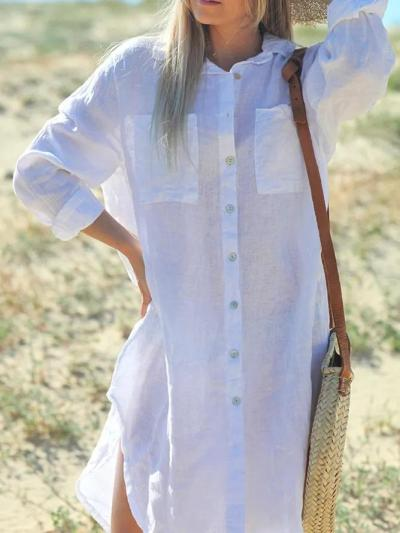 White Simple Long Sleeve Buttoned Dresses