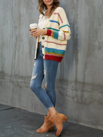 Beige Long Sleeve V Neck Sweater