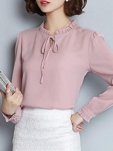 Pink Elegant Bow Plain Blouse
