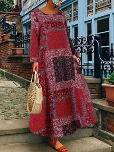 Crew Neck Women Linen Printed Maxi Dresses