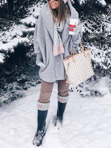 Gray Long Sleeve Hoodie Coat