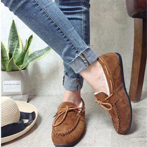 Women Flocking Bowknot Comfy Slip-On Loafers