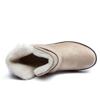Big Size Strappy Warm Suede Ankle Slip On Fur Lining Flat Snow Boots