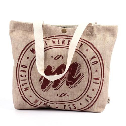 Letter Canvas Buttoned Casual Shoulder Bags
