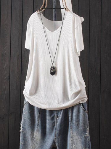 Solid Color V Neck Short Sleeve Casual T-Shirt