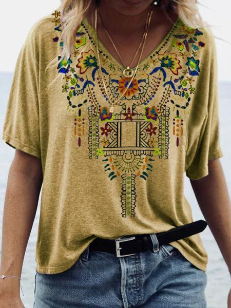 V Neck Boho Shirts Blouses
